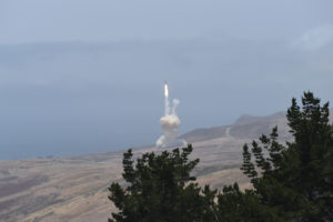 A long-range ground-based interceptor is launched from Vandenberg Air Force Base, California, May 30, 2017. It successfully intercepted an intercontinental ballistic missile target launched from the Kwajalein Atoll in the first live-fire test event against an ICBM-class target. Credit: Missile Defense Agency