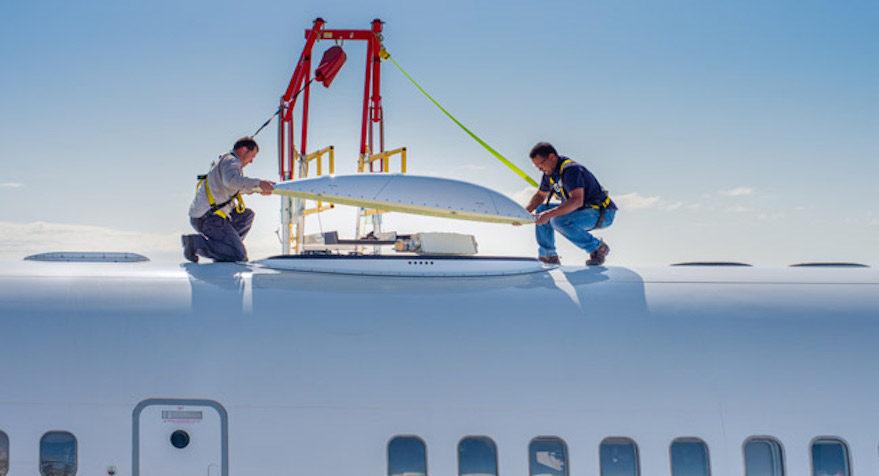 Inmarsat JetWave Hardware for GX Aviation Installation on Honeywell B757 Test Aircraft 1