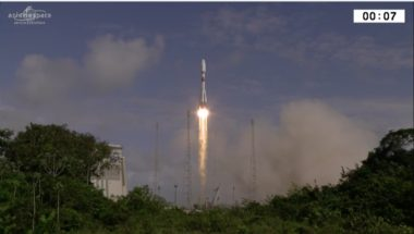 A Europeanized Soyuz rocket lifts off carrying the SES-15 satellite. Credit: Arianespace video capture
