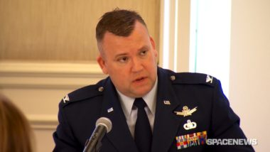 U.S. Air Force Col. Sidney Conner, deputy director,  space programs assistant secretary (acquisition) speaking May 9 at the Washington Space Business Roundtable. Credit: SpaceNews