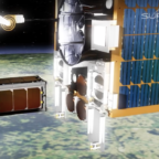 The RemoveDebris mother ship deploys a target satellite in this animation from an SSTL video. Credit: SSTL