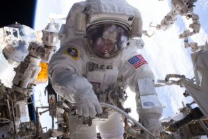 NASA astronaut Peggy Whitson is seen during a Jan. 6, 2017, spacewalk during Expedition 50 aboard the International Space Station. Credit: NASA