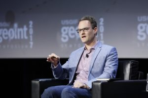 Patrick Biltgen, the technical director of analytics for Vencore, speaks at the GEOINT 2017 conference June 4. Credit: USGIF