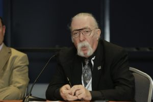 "Jeffrey ""Skunk"" Baxter, a national security consultant who often leads wargame red teams and a founding member of American jazz rock band Steely Dan said the U.S. government will need small satellites and advanced technologies to address growing threats from potential adversaries. Credit: USGIF"