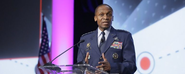 Gen. Darren McDew, leader of U.S. Transportation Command, speaks at the GEOINT 2017 Symposium in San Antonio, Texas, June 6, 2017. Credit: USGIF