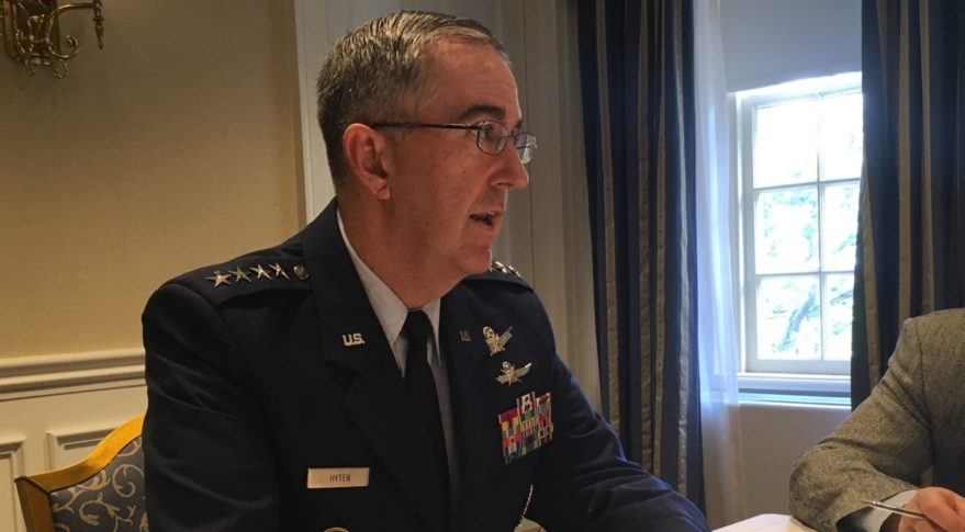 Gen. John Hyten, leader of U.S. Strategic Command, speaks to reporters following a breakfast hosted by the Mitchell Institute for Aerospace Studies June 20, 2017. Credit: Phillip Swarts/SpaceNews