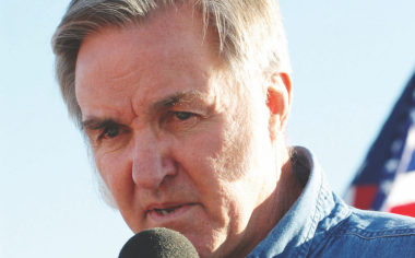 A more optimistic  Burt Rutan speaks following SpaceShipOne's X-Prize-winning flight in October 2004. Credit: Wikicommons