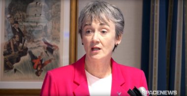 Air Force Secretary Heather Wilson speaking June 16, 2017, at he Strategic National Security Space FY18 Budget Forum. Credit: SpaceNews/Mike Moser