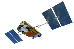 The white box visible on the Iridium Next satellite pictured is Harris' hosted payload for tracking ships with AIS beacons. Credit: Harris Corp.