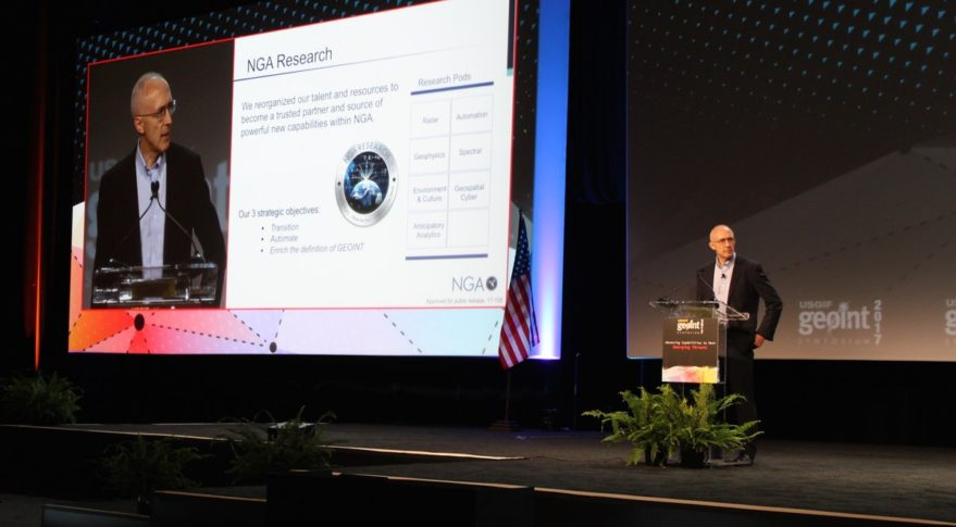 NGA's director of research, Peter Highnman, speaking June 4 at GEOINT 2017 in San Antonio, Texas. Credit: GEOINT