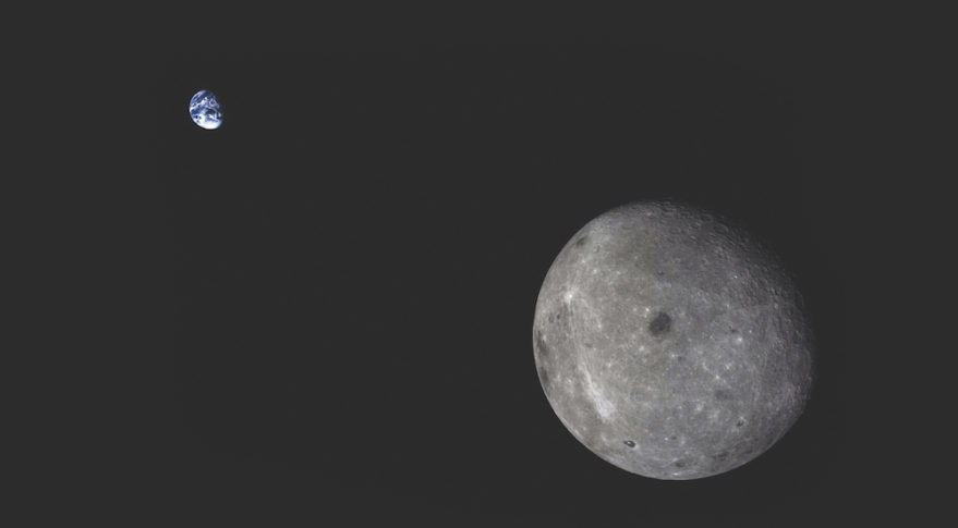 China's robotic circumlunar test flight in 2014 snapped this image of the moon with Earth in the distance. Credit: Chinese Academy of Sciences