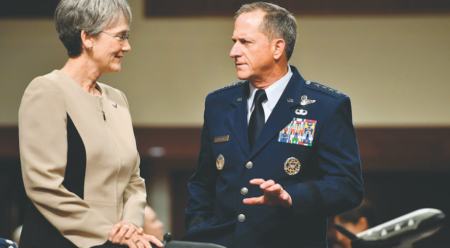 U.S. Air Force Secretary Heather Wilson and Air Force Chief of Staff Gen. David golden prepare to testify June 6 before the Senate Armed Services Committee. Credit: U.S. Air Force
