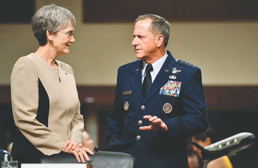 Secretary of the Air Force Heather Wilson and Air Force Chief of Staff Gen. David Goldfein prepare to testify before the Senate Armed Services Committee June 6 in Washington. Credit: U.S. Air Force photo/Scott M. Ash