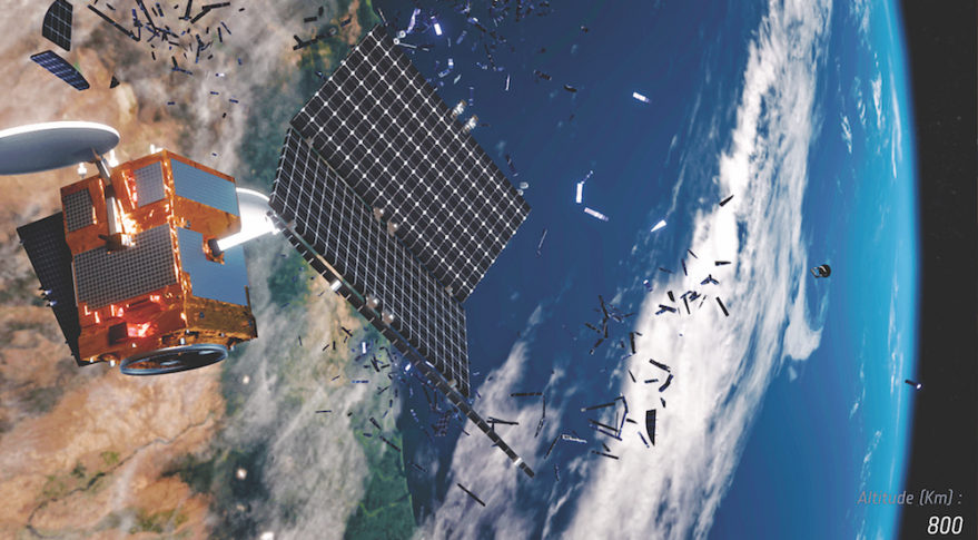In this European Space Agency illustration, a satellite breaks up, adding to the growing population of orbital debris. Debris-clearing spacecraft the U.S., China and others have in the works could double as anti-satellite weapons. Credit: ESA