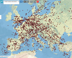 This is a screen shot showing European aircraft flights in Ball Aerospace's visual data repository, VizZen. Credit: Ball Aerospace