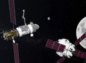 An illustration of NASA's proposed Deep Space Gateway in orbit around the moon. Credit: NASA