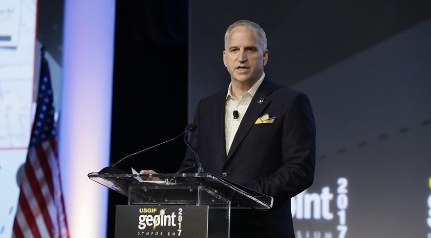 Robert Cardillo, the director of the National Geospatial-Intelligence Agency, speaks to the GEOINT 2017 symposium June 5. Credit: USGIF