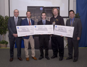 Left to right are Steve Jurczyk, NASA Space Technology Mission Directorate associate administrator, Benjamin Fried of the CU-E3 team, Kyle Doyle of the CisLunar Explorers, Wesley Faler of Team Miles, and Eugene Tu, NASA Ames Research Center director. Credit: NASA