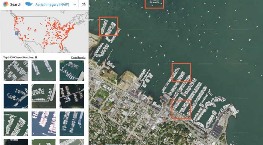 With Descartes Labs' GeoVisual Search, if a user clicks on ships in a Marina, GVS processes satellite and aerial imagery in the cloud to identify similar objects around the world. Users can also use geographic or temporal parameters to confine the GVS search. Credit: Descartes Labs