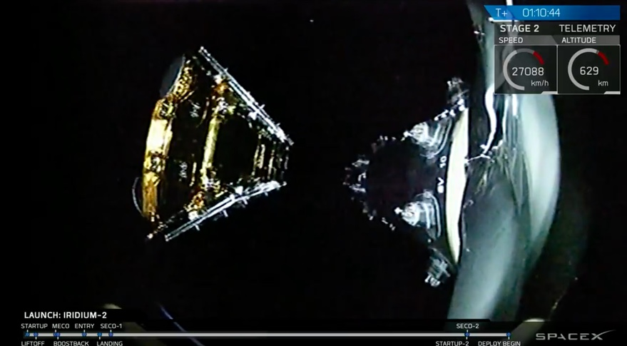 SpaceX Iridium satellite deployment