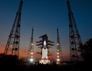 The first GSLV Mark 3 rocket sits on a pad at the Satish Dhawan Space Centre prior to launch.