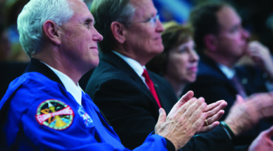 Vice President Mike Pence applauds during an event where NASA introduced 12 new astronaut candidates, Wednesday, June 7, 2017 at NASA's Johnson Space Center in Houston, Texas. After completing two years of training, the new astronaut candidates could be assigned to missions performing research on the International Space Station, launching from American soil on spacecraft built by commercial companies, and launching on deep space missions on NASA's new Orion spacecraft and Space Launch System rocket. Photo Credit: (NASA/Bill Ingalls)