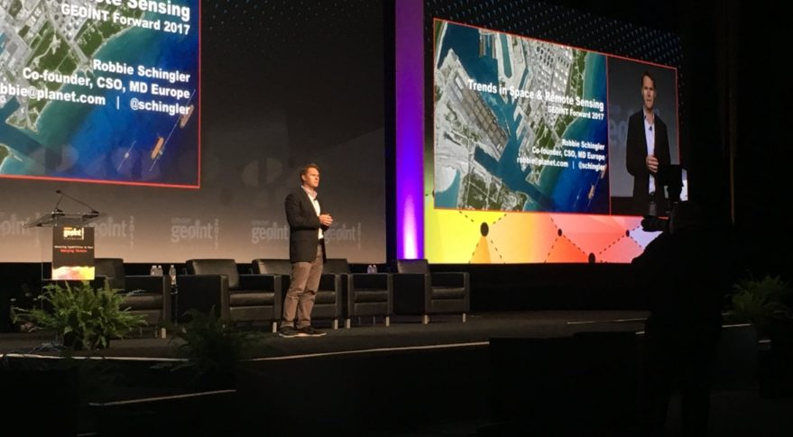 Planet's Robbie Schingler speaking June 4 at GEOINT 2017. Credit: @GEOINTSymposium