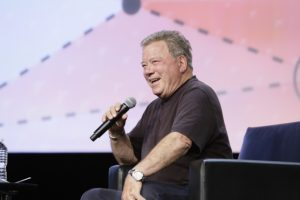 Actor William Shatner, best known for his role as Capt. James T. Kirk on Star Trek, speaks to attendees at the annual GEOINT Symposium, June 5, 2017. Credit: USGIF
