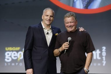 Sci-fi celebrity William Shatner meets GEOINT celebrity Robert Cardillo, director of the National Geospatial-Intelligence Agency, at the annual GEOINT Symposium, June 5, 2017. Credit: USGIF