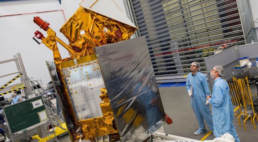 Sentinel 5P will make global maps of pollution of 512 miles. It is set to launch on a Russian rocket in September. Credit: Airbus DS/Max Alexander