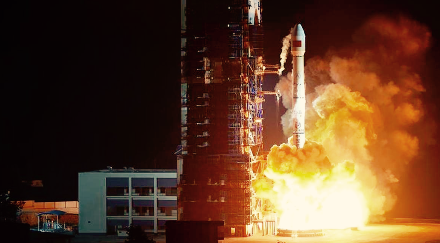 A Chinese military communications satellite launches atop a Long March 3B rocket from the Xichang Satellite Launch Center in November 2015. Credit: Xinhua