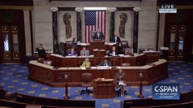 The House of Representatives debates the National Defense Authorization Act July 13, 2017, a day before the bill's passage, which includes a controversial proposal to set up a new military branch focused on space. Credit: CSPAN