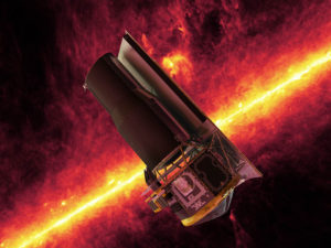 Artist's concept of the Spitzer Space Telescope seen against the infrared sky. Credit: NASA/JPL-Caltech/R. Hurt