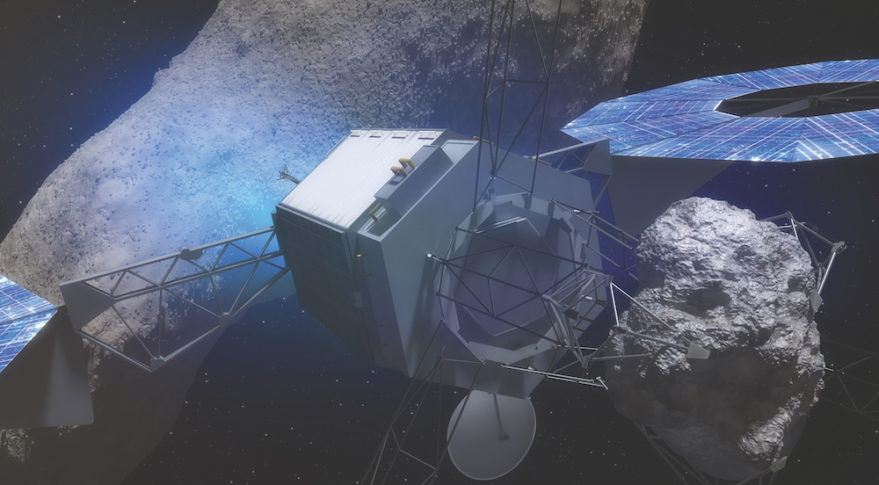 Solar electric propulsion was a key enabling technology for NASA's now-abandoned plan to relocate part of an asteroid to cislunar orbit. Credit: NASA/artist's concept