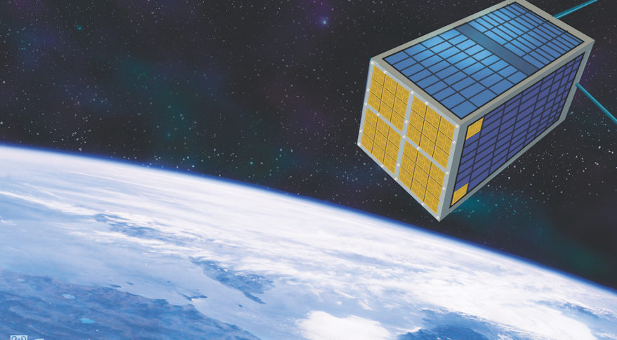 Accion Systems' electrospray thruster chips (shown in gold) arranged on a notional satellite. Credit: Accion Systems