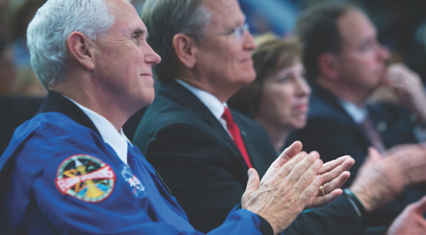 U.S. Vice President Mike Pence applauds NASA's newest class of astronauts during a June 12 ceremony at Johnson Space Center in Houston. Credit: NASA/Bill Ingalls