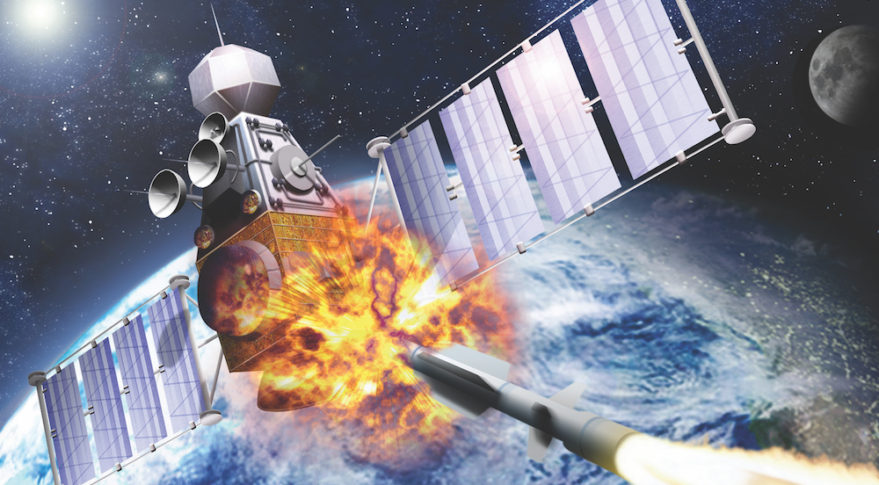 A missile destroys a satellite in this depiction of a scenario some U.S. planners consider inevitable. Credit: Edobric/Shuttershock