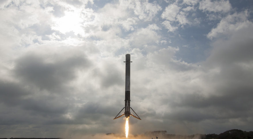 A Falcon 9 rocket's first stage booster lands at Cape Canaveral Air Force Station on Feb. 19 following a launch from nearby Kennedy Space Center. Credit: SpaceX