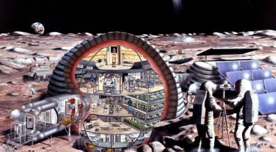 An artist's depiction of a lunar base, sometimes called a moon village. A moon village would provide a great initial market for lunar miners. Credit: Wikicommons