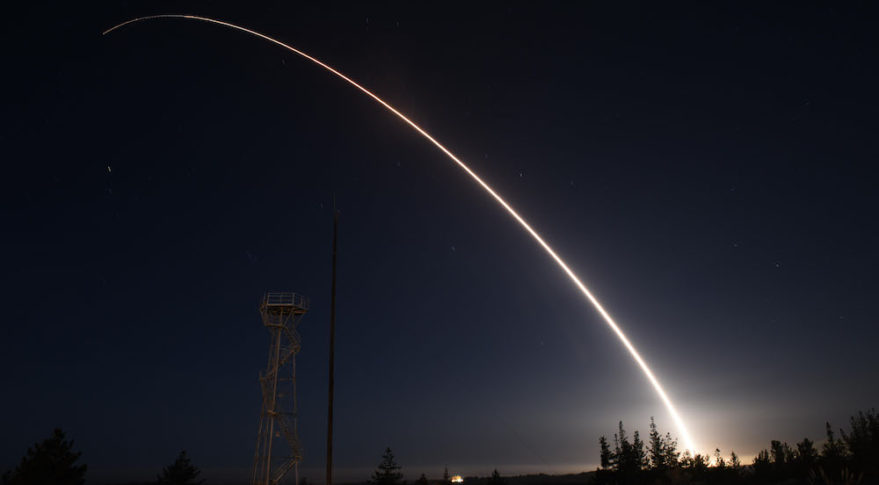 An unarmed Minuteman 3 intercontinental ballistic missile launches from Vandenberg Air Force Base, California, during a February 2016 test.  Credit: U.S. Air Force photo by Staff Sgt. Jim Araos