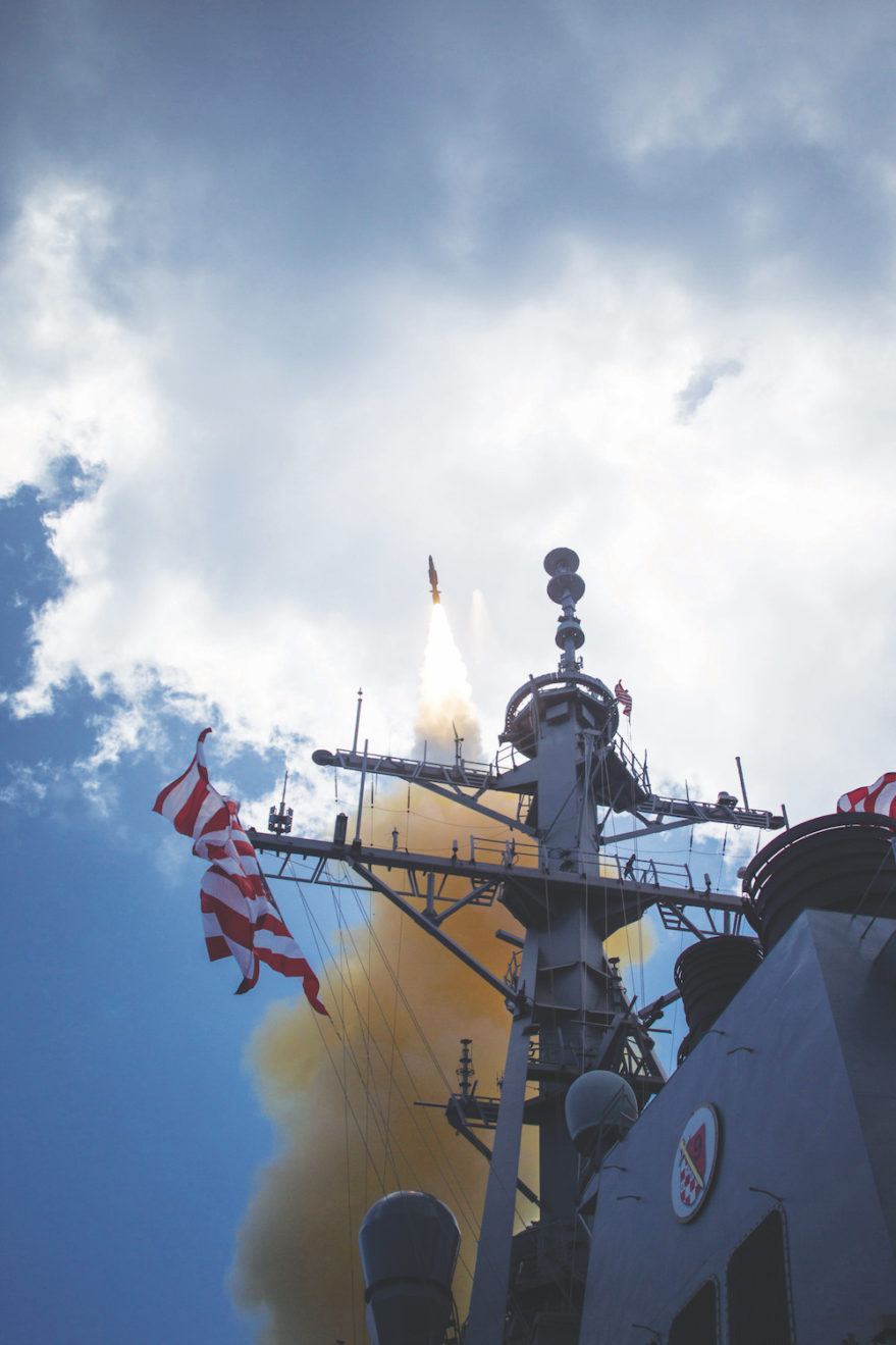 A missile interceptor launches from an Aegis-equipped U.S. Navy destroyer in the Pacific. Credit: DoD