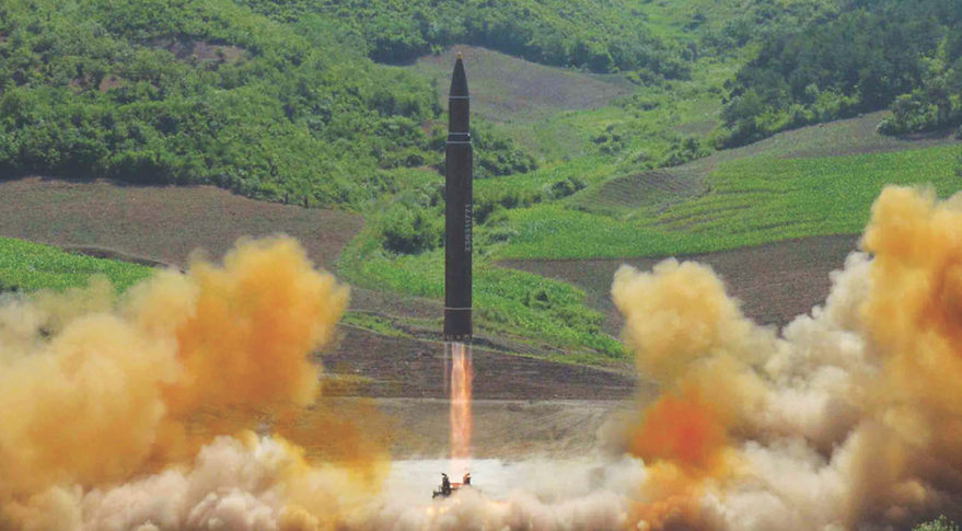 North Korea launches the Hwasong-14 in July on a lofted trajectory that demonstrated sufficient range to hit the continental United States. Credit: Korean Central News Agency