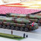 North Korean intermediate-range mobile missiles on parade in 2015. Credit: North Korean state-run media
