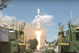 A Russian Soyuz rocket lifts off July 14 from the Baikonur Cosmodrome in Kazakhstan carrying 73 satellites. Credit: Roscosmos video