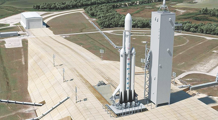 The SpaceX Falcon Heavy rocket (above) and Blue Origin's planned New Glenn heavy lifter should prove that big, new rockets are no longer the sole province of government. Credit: SpaceX