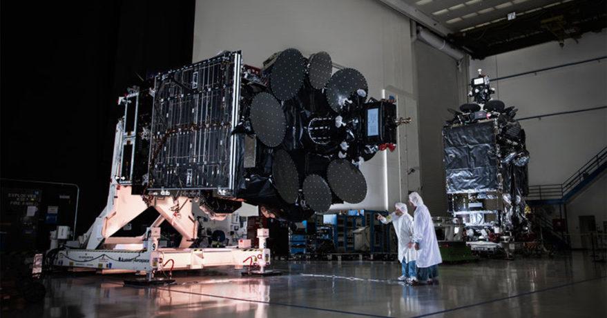 Inmarsat 5 F1 and F2 Global Xpress satellites at Boeing's El Segundo, California-facility. Credit: Inmarsat