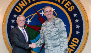 U.S. Defense Secretary Jim Mattis  (left) visits with Gen. John E. Hyten, the commander of U.S. Strategic Command, during a visit to Offutt Air Force Base in Nebraska last week.   Credit: DoD/U.S. Air Force Staff Sgt. Jette Carr