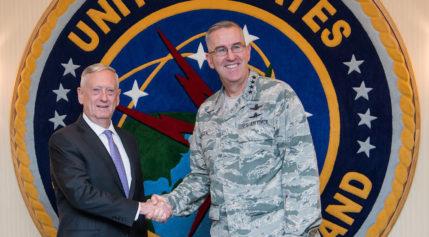 U.S. Defense Secretary Jim Mattis  (left) visits with Gen. John E. Hyten, the commander of U.S. Strategic Command, during a visit to Offutt Air Force Base in Nebraska last week.   Credit: DoD/U.S. Air Force Staff Sgt. Jette Carr