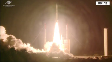 An Ariane 5 lifts off Sept. 29 carrying the Intelsat-37e and Bsat-4a satellites in a mission postponed from earlier in the month. Credit: Arianespace live stream