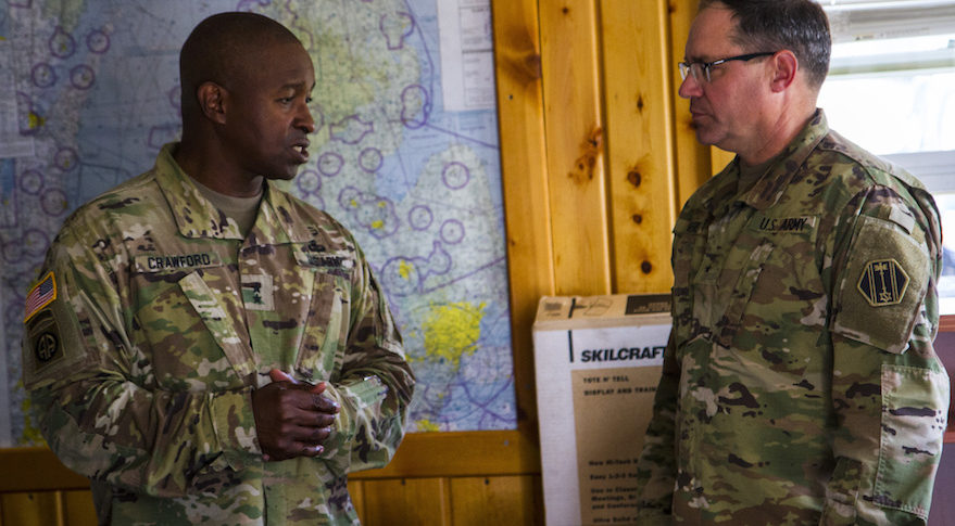 Maj. Gen. Bruce Crawford, Commander of the U.S. Army Communications-Electronics Command, and Brig. Gen. Paul Rogers, Deputy Commander of the 46th Military Police Command discuss the future opportunities to expand the Michigan National Guard capabilities across the state during Exercise Northern Strike 17 Aug. 8, 2017. Northern Strike 17 is a National Guard Bureau-sponsored exercise uniting approximately 5,000 service members from 13 states and five coalition countries during the first two weeks of August 2017 at the Camp Grayling Joint Maneuver Training Center and the Alpena Combat Readiness Training Center, both located in northern Michigan and operated by the Michigan National Guard. The newly accredited Northern Strike demonstrates the Michigan National Guard's ability to provide accessible, readiness-building opportunities for military units from all service branches to achieve and sustain proficiency in conducting mission command, air, sea and ground maneuver integration, together with synchronization of fires in a joint, multinational, decisive action environment. (Michigan National Guard photo by Spc. Alan Prince)